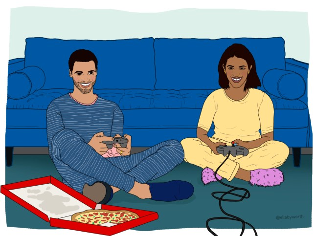Illustration of two people, a woman and a man, sat on the floor in front of their blue sofa with video game consoles in their hands and a box of pizza