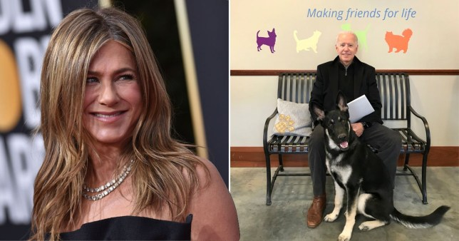 Jennifer Aniston and Joe Biden with his rescue dog Major