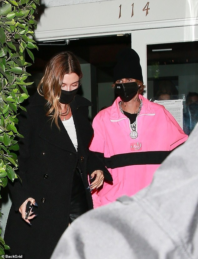 Date night: Hailey and Justin Bieber were seen stepping out for dinner on Friday night at the luxurious family-run Italian eatery Giorgio Baldi in the Pacific Palisades section of Los Angeles