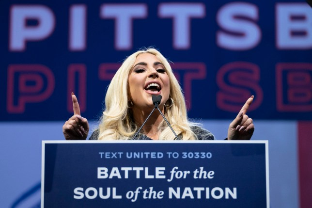 Lady Gaga at Joe Biden campaign rally