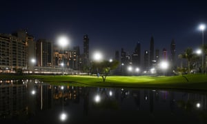Playing under floodlights at Emirates Golf Club offers a different challenge to players.