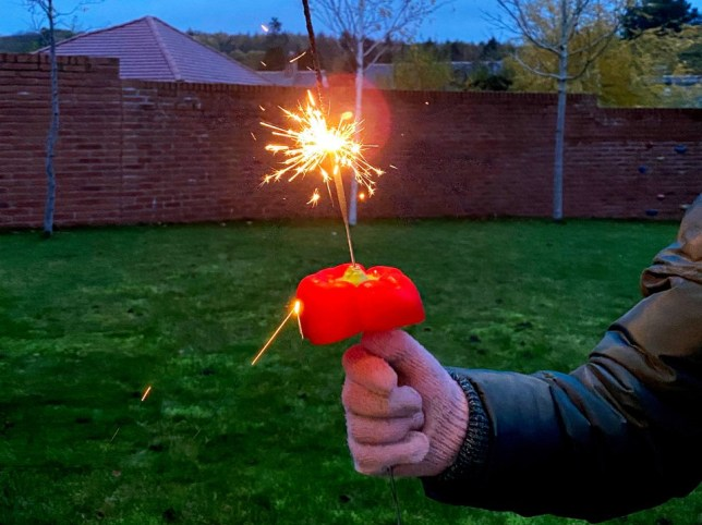 Make these easy pepper shields to protect kids hands from sparklers this Bonfire Night