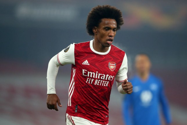 Willian of Arsenal during the UEFA Europa League Group B stage match between Arsenal FC and Molde FK at Emirates Stadium on November 5, 2020 in London, United Kingdom.