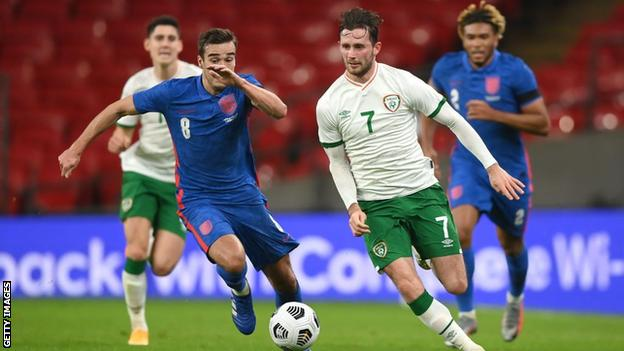 Alan Browne playing for the Republic of Ireland against England on Thursday