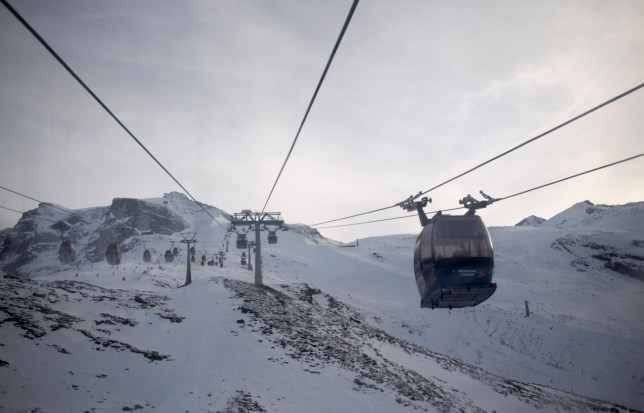Cable cars make their way up to the Hintertux Glacier near Mayrhofen in the Zillertal Valley, Austria