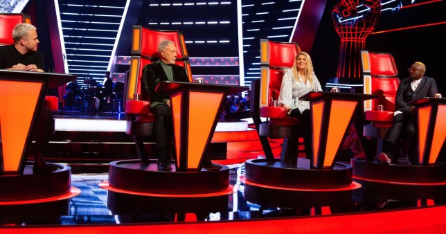 The voice judges Tom Jones, Meghan Trainor, Olly Murs, and Will.i.am