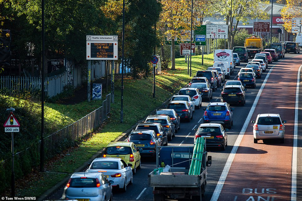 Queuing traffic heading in to Bristol city centre today as people get last minute shopping done before non-essential shops shut tomorrow