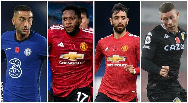 Hakim Ziyech (Chelsea), Fred (Manchester United), Bruno Fernandes (Manchester United), Ross Barkley (Aston Villa)