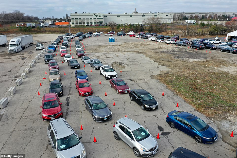 ILLINOIS: Hundreds of cars lined up in Aurora, Illinois for tests asIllinois Governor J.B. Pritzker said that a statewide stay-at-home order may be necessary as COVID-19 cases continue to spike in the state