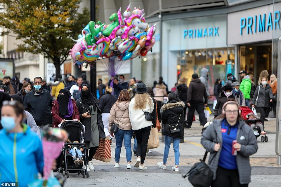 People were out and about inBirmingham City Centre on the eve of England's second lockdown this afternoon