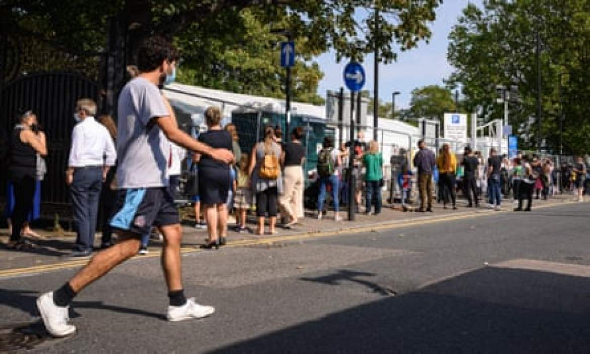 Queues at a walk-in testing centre in London, in September.