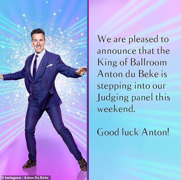 New role! The official Strictly Instagram account confirmed Anton's judging position on Friday, with the pro dancer also reposting the news to his ow grid