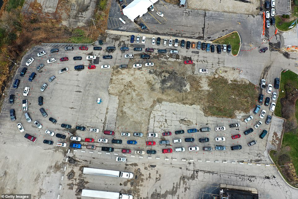 ILLINOIS: In this drone image, residents in cars wait in line at a drive-up COVID-19 test site on Fridayin Aurora, Illinois