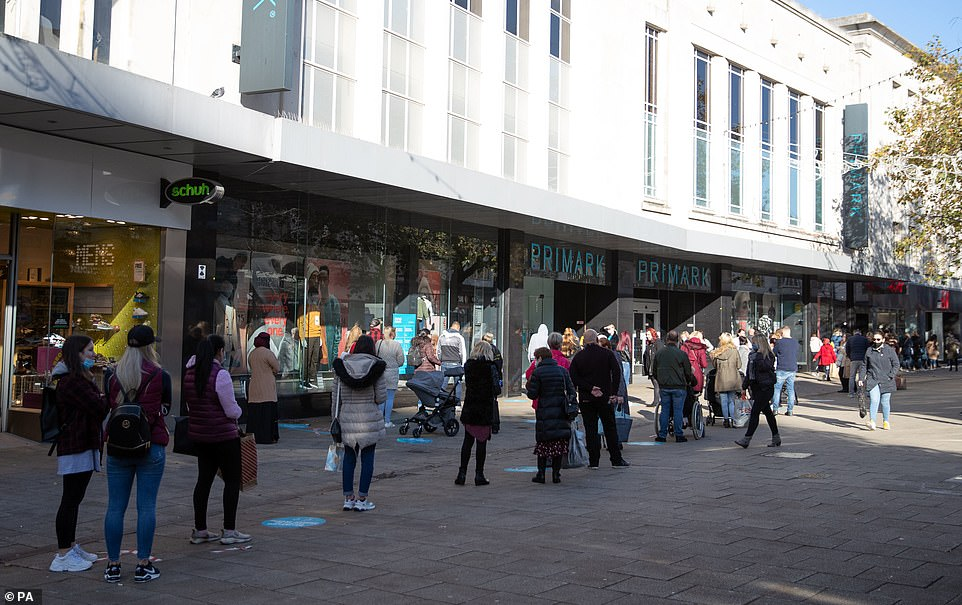 Shoppers could be seen queuing up outside Primark on Commercial road in Portsmouth this afternoon