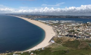 Chesil beach, taken from the Tout Quarry sculpture park.