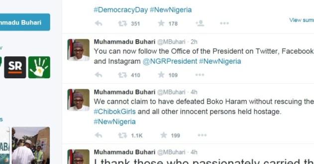 Nigeria President social media account Twitter FacebookInstagram