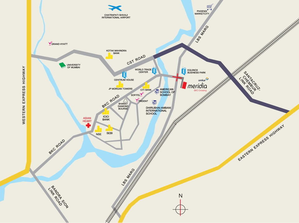 Omkar Meridia BKC Crossing Location