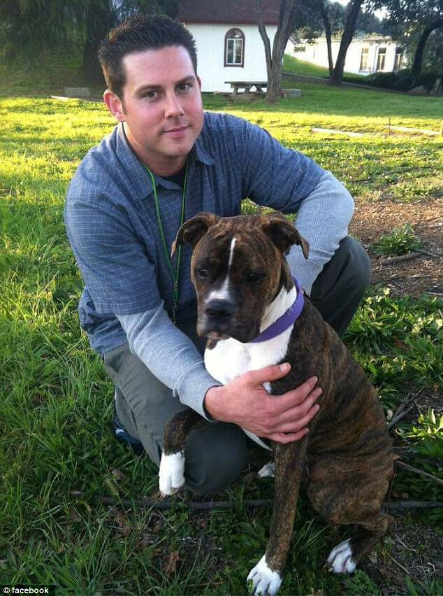 Last month Ryan Jessen, 33, thought he had a migraine but was hospitalized with a ventricular brain hemorrhage and did not recover. He is pictured above with his dog Mollie