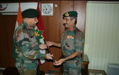 *LT GEN DUA HANDS OVER CHARGE OF 15 CORPS TO LT GEN SANDHU*