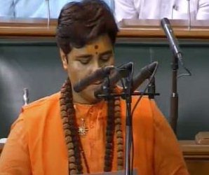 बीजेपी MP प्रज्ञा सिंह ठाकुर की शपथ पर विपक्ष का हंगामा