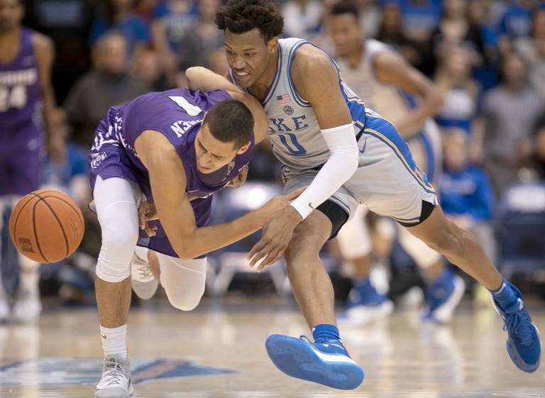 Duke's Wendell Moore Jr. (0) forces a turnover by Central Arkansas' Rylan Bergersen (1) during the first half on Tuesday, November 12, 2019 at Cameron Indoor Stadium in Durham, N.C.