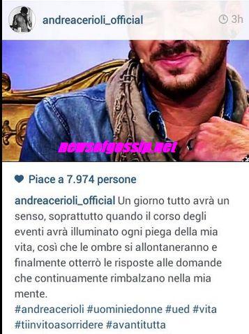Andrea Cerioli messaggio su instagram a Sharon Bergonzi