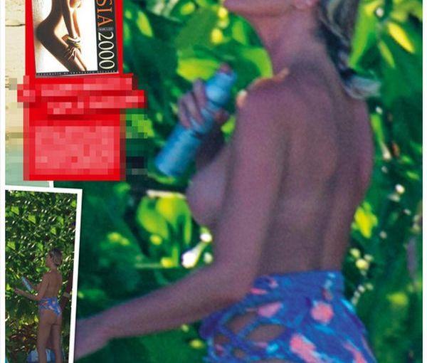 La conduttrice Alessia Marcuzzi super hot topless alle Maldive