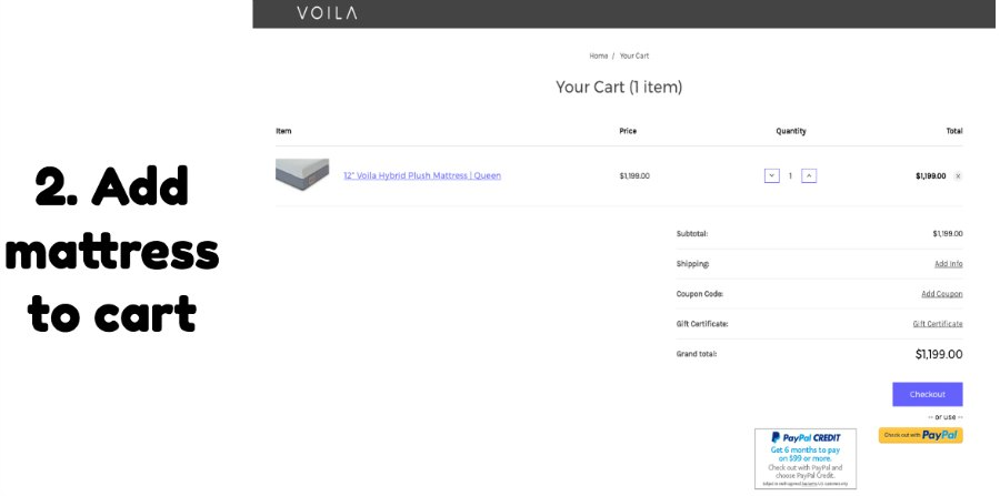 Voila mattress shipping and shipping info