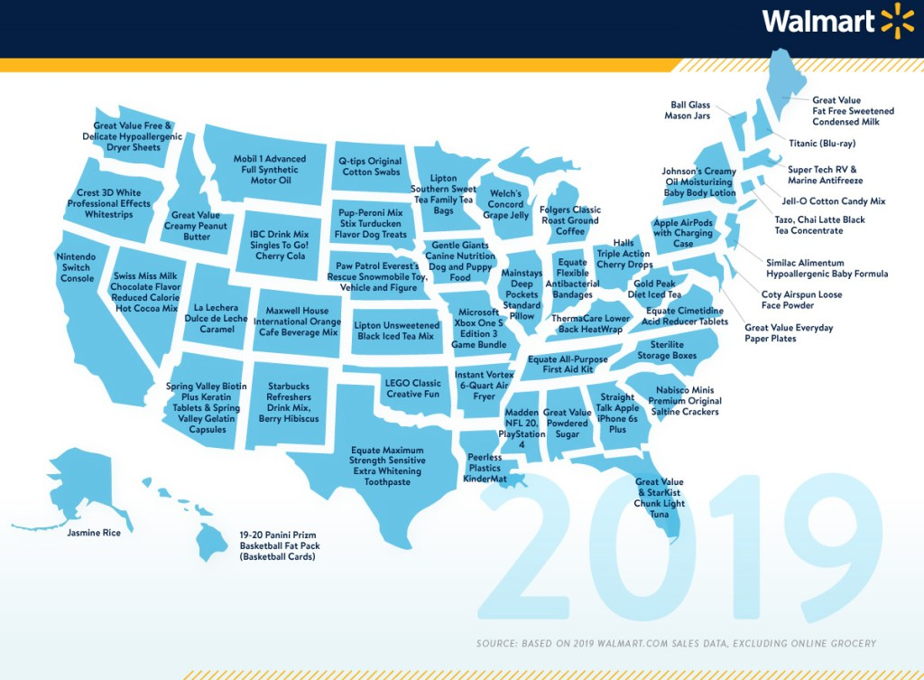 Walmart 2019 best selling products by state