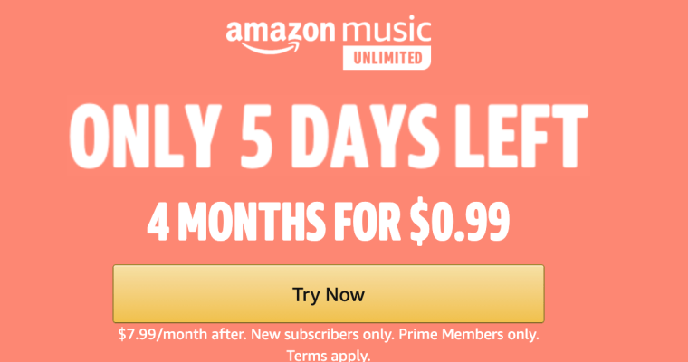 Amazing Amazon Music Unlimited Sale – Get 4 Months for Just 99¢!