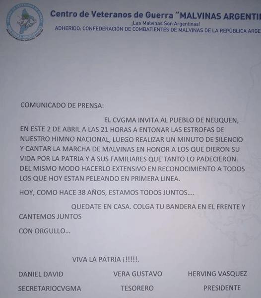 The statement from the Neuquén War Veterans Center. (Photo: Facebook)