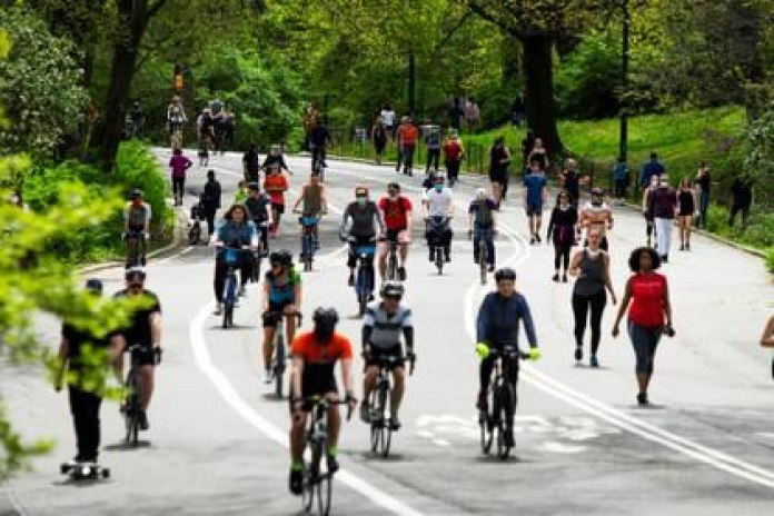 Cyclists and runners took over Central Park on Sunday (Reuters)