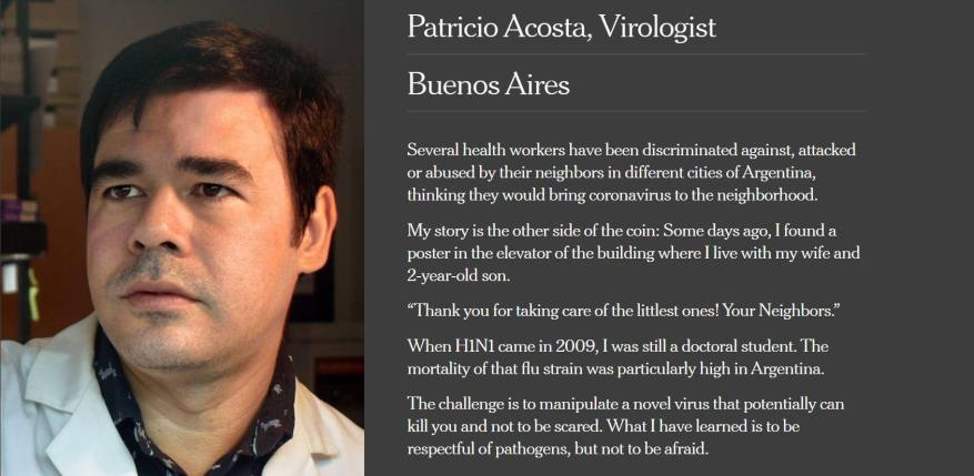 The publication of the New York Times newspaper about the work of the Argentine doctor Patricio Acosta. (Photo: The New York Times).
