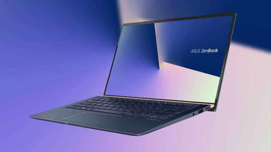 The Asus laptop has a distinctive hinge.