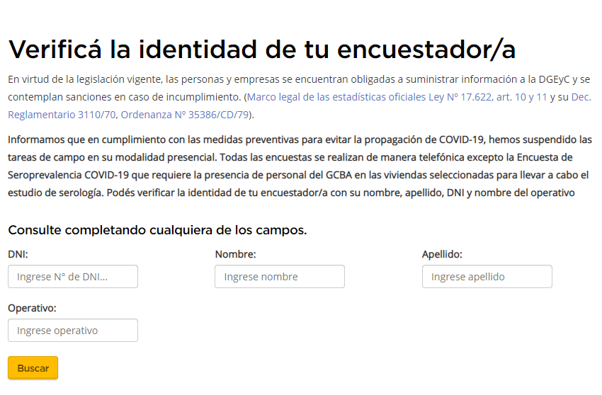 Form to verify the identity of the personnel who carry out the seroprevalence study of the DGEyC (Photo: Web capture / GCBA)