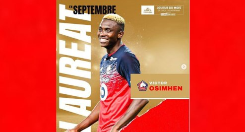 Nigeria Strike, Osimhen Wins French Ligue 1 Player Of September