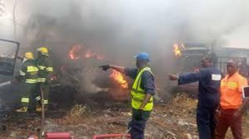 Lagos: 10 Cars, Trailer Burnt As Fire Razes LASTMA Yard