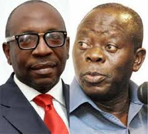 Obaseki Exchanges Pleasantry With Oshiomhole In Auchi, Says No Personal Grudge