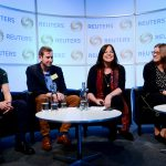 (L-R) IBT Media's Alfred Joyner, Buzzfeed News' Andy Dangerfield, Ultra Social's Sue Llewellyn, and First Draft's Jenni Sargent at news:rewired on February 8, 2017