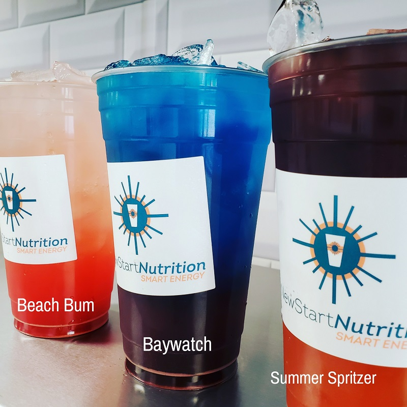 Beach Lovers Boosted Tea Three Cups of Different Colored Boosted Teas