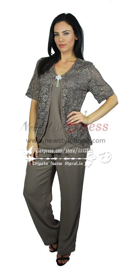 Charcoal Gray Chiffon Outfits Mother Of The Bride Pant