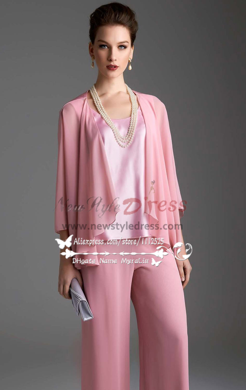 Pink Chiffon Womens Outfits Lovely With Jacket Trouser