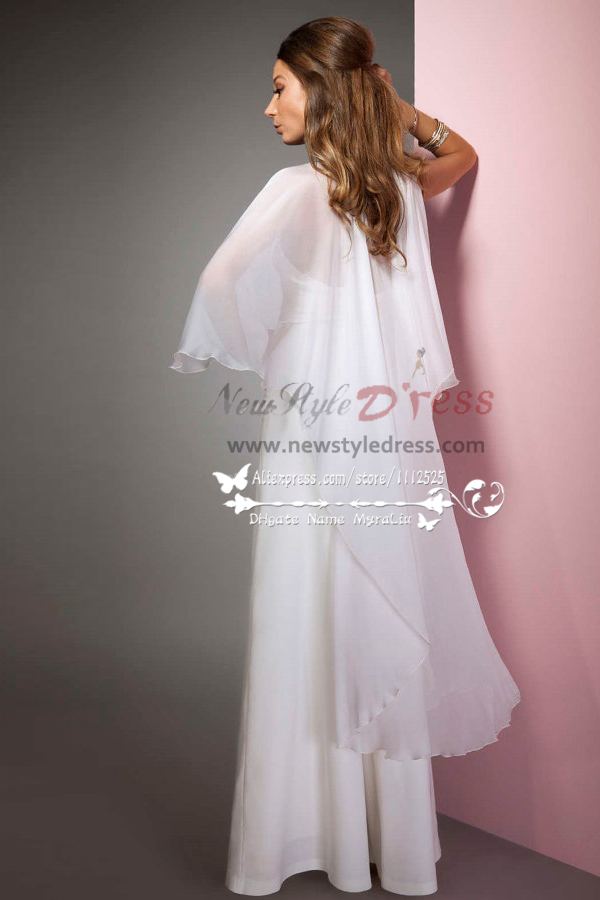 Sexy Halter Deep V Neck Bridal Jumpsuits With Chiffon Cape