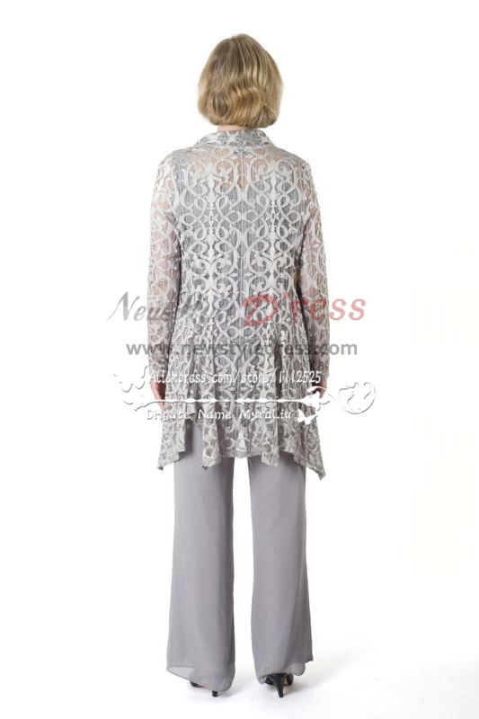 Silver Grey Stretch Lace Outfit Mother Of The Bride Pant