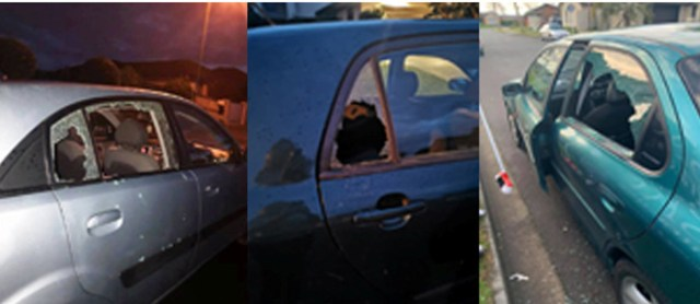Pictures posted on FB of cars smashed in recent days