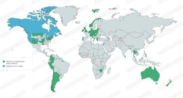 Carte légalisation cannabis médical dans le monde