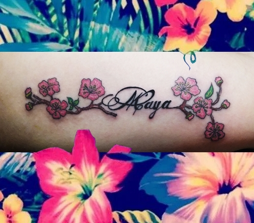 Writing Maya & Flowers tattoo - Tatouage Maya & Fleurs