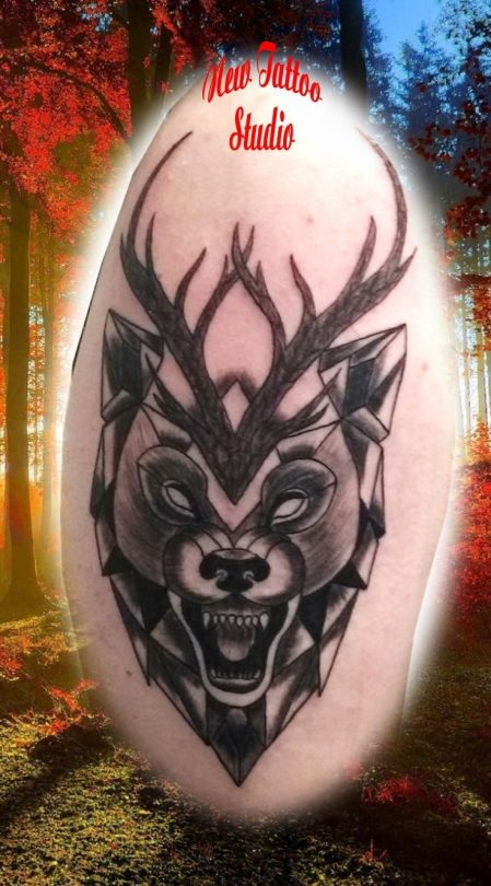 Deer origami tattoo - Tatouage Cerf origami