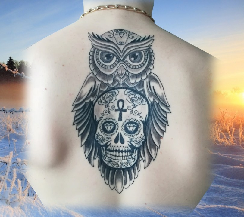 Tatouage Hibou crâne mexicain Owl Mexican skull tattoo - Landes France