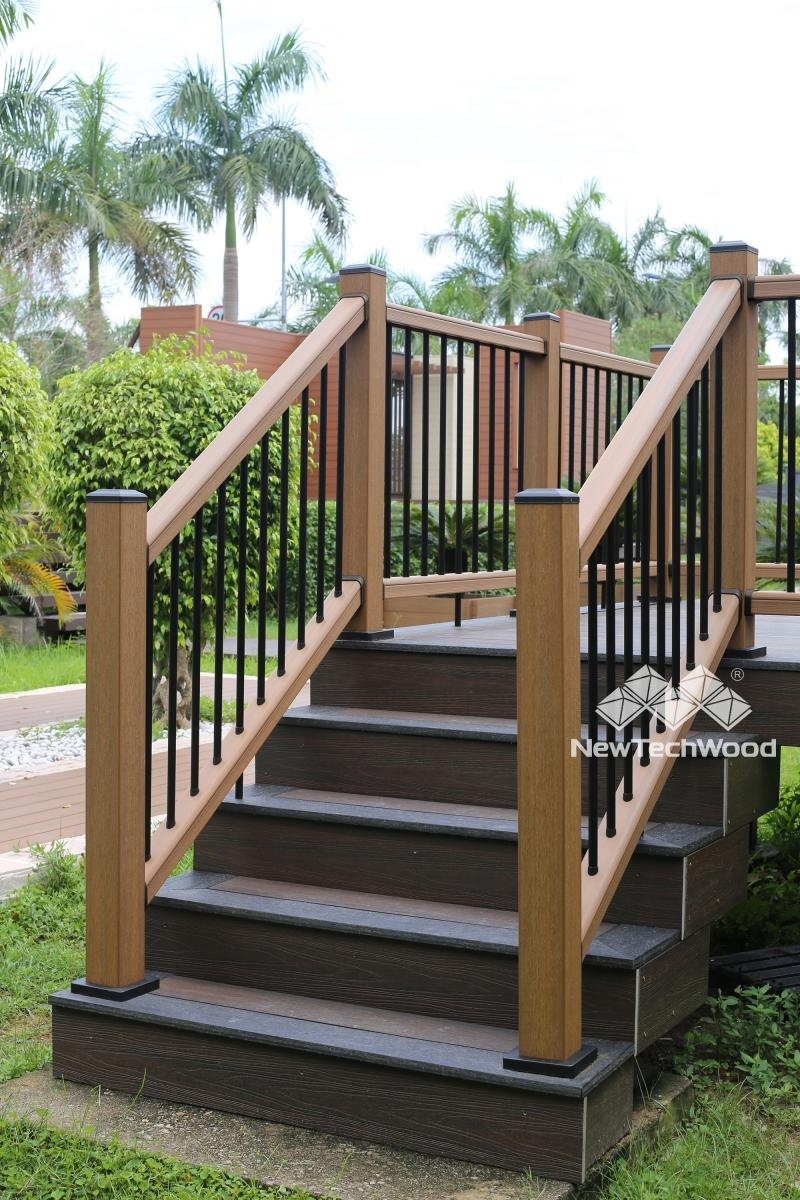 Deck Railing Composite Outdoor Deck Rails Newtechwood | Outside Stair Railing Installation | Rail | Simple | Staircase | Back Porch | Sunroom